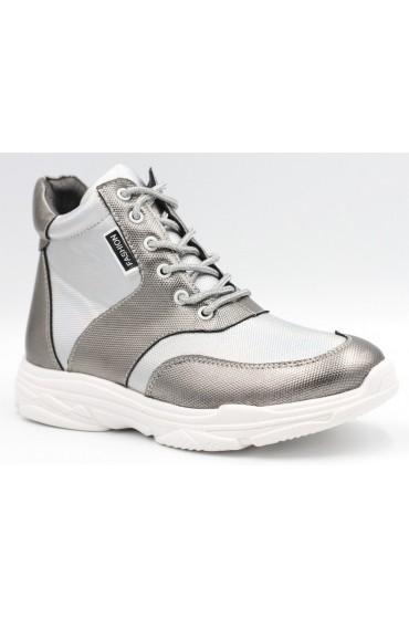 FL-W16961 BTB Ботинки детские Flois-Kids, иск.кожа, цвет серебро, р-р 33-38